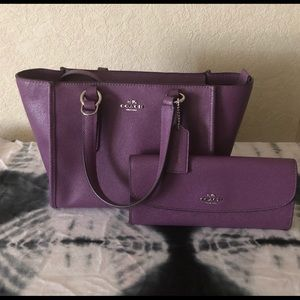 Coach Carryall 21 and wallet in Berry